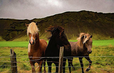 Painting - Three Horses On A Windy Day - Painting by Ericamaxine Price