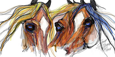 Digital Art - Three Horses Talking by Stacey Mayer