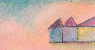 Pastel - Three Houses by Valerie Reeves