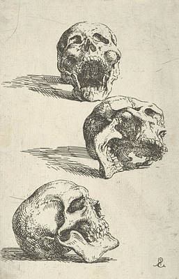 Relief - Three Human Skulls by Salvator Rosa