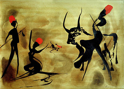 Figurativ Painting - Three Hunters With Bull 2 by Heinz Sterzenbach