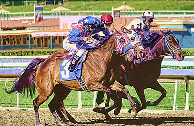 Horserace Painting - Three In The Stretch by Clarence Alford