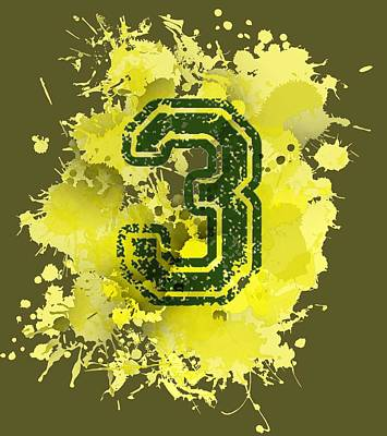 Numbers Digital Art - Three In Yellow Stain by Alberto RuiZ