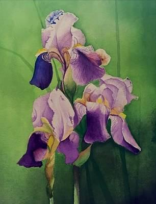 David Hoque Painting - Three Iris by David Hoque