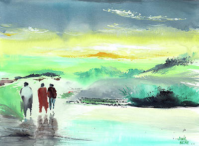 Painting - Three Is Company by Anil Nene