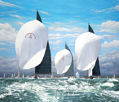 Painting - Three J Class Yachts by Mark Woollacott