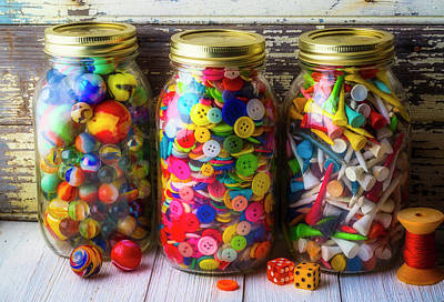Photograph - Three Jars Of Marbles Buttons Andtees by Garry Gay
