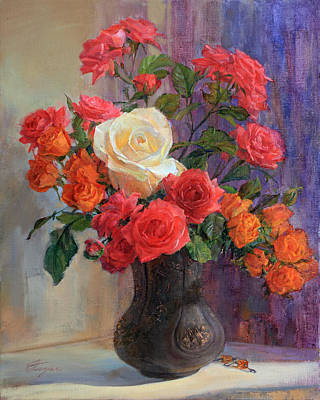 Painting - Three Kinds Of Roses In One Bouquet In Dark Vase by Galina Gladkaya