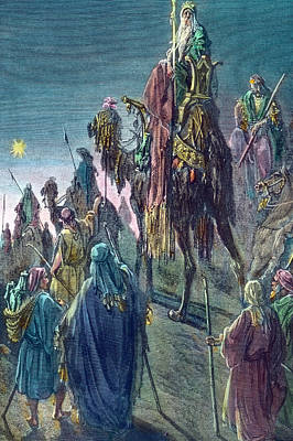 Three Kings Drawing - Three Kings  Christmas Card by Gustave Dore