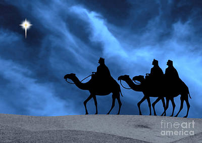Three Kings Travel By The Star Of Bethlehem - Midnight Art Print by Gary Avey