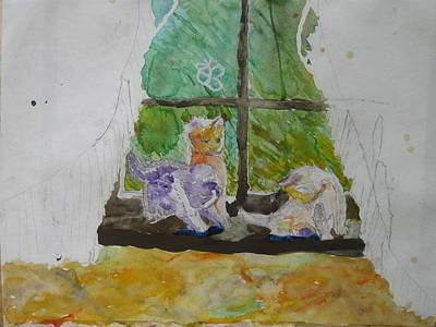 Painting - Three Kittens by AJ Brown