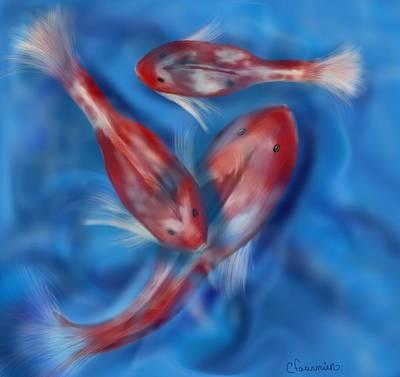 Painting - Three Koi by Christine Fournier