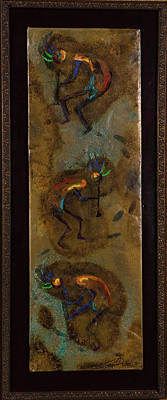 Mixed Media - Three Kokopelli by Laurie Tietjen