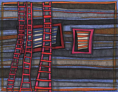 Drawing - Three Ladders by Sandra Church