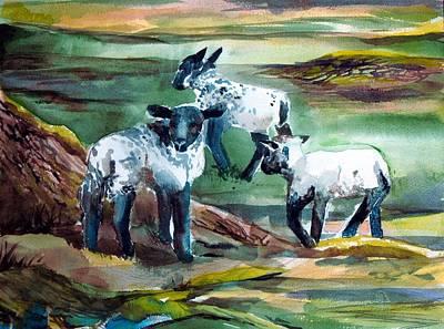 Three Lambs Print by Mindy Newman