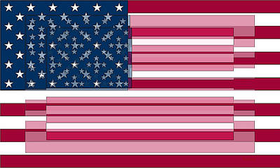 Digital Art - Three Layered Flag by David Bridburg