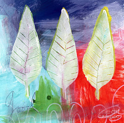 Blue Abstracts Painting - Three Leaves Of Good by Linda Woods