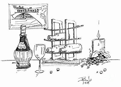 Wine Drawings - Three Left by Andrew Cravello