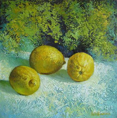 Art Print featuring the painting Three Lemons by Elena Oleniuc