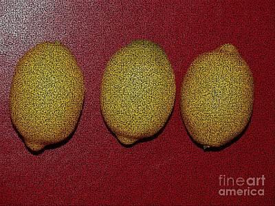 Plantations Mixed Media - Three Lemons by Joseph Baril