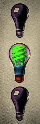 Photograph - Three Light Bulbs by Bob Orsillo