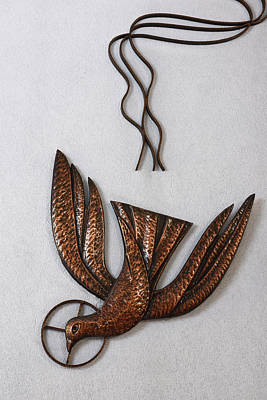 Photograph - Three Lines Leading To A Bronze Sculpture Of A Dove For The Holy by Reimar Gaertner