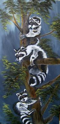 Painting - Three Little Bandits by Debra Campbell