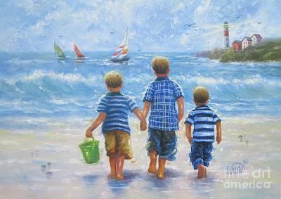 Little Boy Painting - Three Little Beach Boys Walking by Vickie Wade