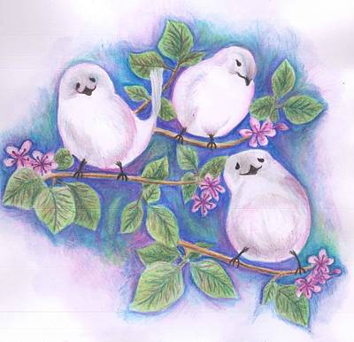 Painting - Three Little Birds by Cherie Sexsmith