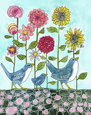 Three Little Birds Flowers Art Print