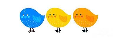 Digital Art - Three Little Birds Tee by Edward Fielding
