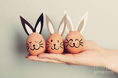 Photograph - Three Little Easter Bunnies Made From An Egg by Michal Bednarek