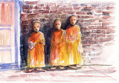 Painting - Three Little Monks by Asha Sudhaker Shenoy