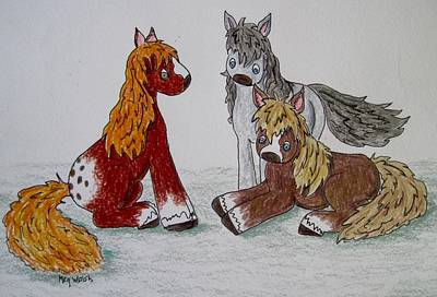 Drawing - Three Little Ponies by Megan Walsh