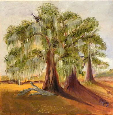 Painting - Three Live Oaks With Spanish Moss In A Florida Cow Pasture by Peggy King