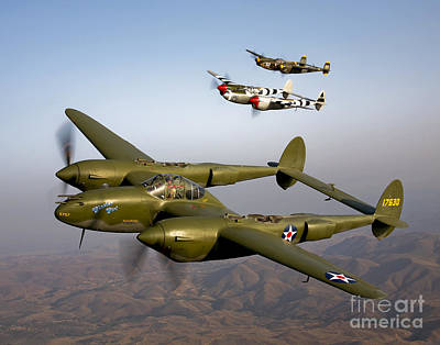 Lightning Photograph - Three Lockheed P-38 Lightnings by Scott Germain