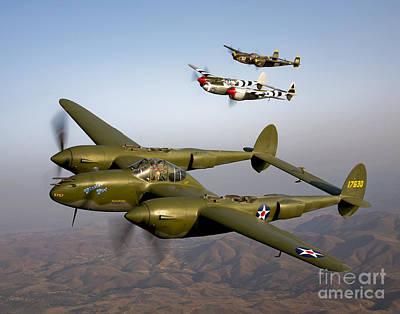 Photograph - Three Lockheed P-38 Lightnings by Scott Germain