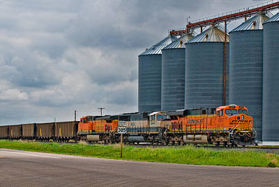Photograph - Three Locomotives At Nebraska Wheat Silos by Ginger Wakem