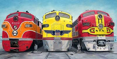 Painting - Three Locomotives by RB McGrath