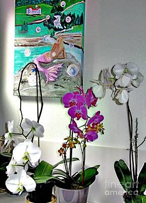 Photograph - Three Lovely Orchids And A Mermaid by Phyllis Kaltenbach