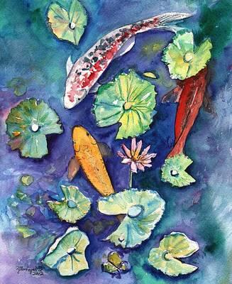 Hawaiian Fish Painting - Three Lucky Koi by Marionette Taboniar