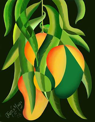 Mango Mixed Media - Three Mangoes by James  Mingo