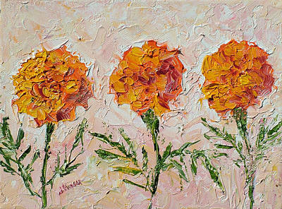 Painting - Three Marigolds by Jill Musser