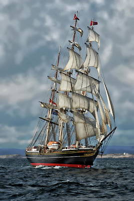Photograph - Three Mast Schooner by Anthony Dezenzio