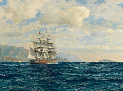 Painting - Three-master In The Strait Of Messina by Michael Zeno Diemer