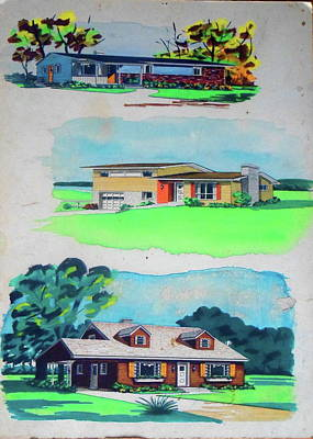 Painting - Three Media Three Houses by Frank Hunter