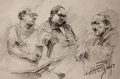 Sketch Drawing - Three Men Chatting by Ylli Haruni