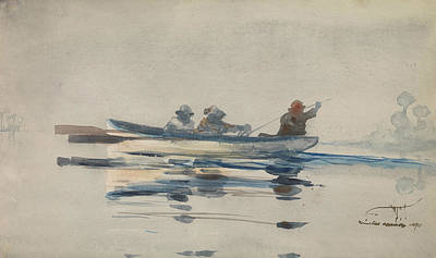 Painting - Three Men In A Boat by Winslow Homer