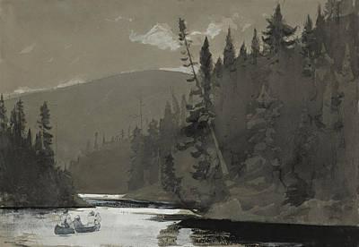 Winslow Homer Drawing - Three Men In A Canoe by Winslow Homer