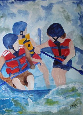 White Water Rafting Painting - Three Men In A Tube by Sandy McIntire